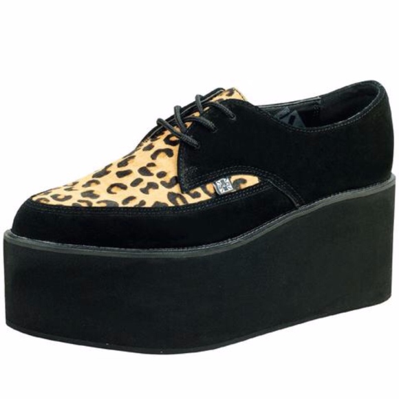 tuk Shoes - TUK Black Leopard EVA Stacked Pointed Creepers